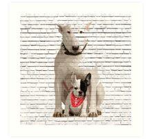 English Bull Terrier & Frenchie Friend Banksy Style Art Print