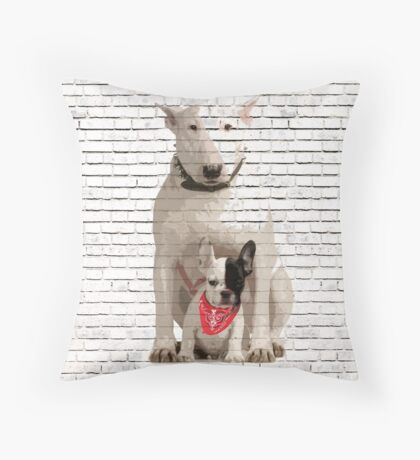 English Bull Terrier & Frenchie Friend Banksy Style Throw Pillow