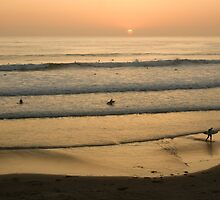 Crowded Californian Surfing Sunset - Pacific Beach, San Diego by Georgia Mizuleva