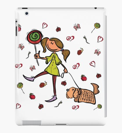 Funny girl with dog!  iPad Case/Skin