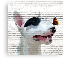 English Bull Terrier & Butterfly Canvas Print