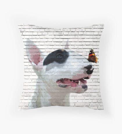 English Bull Terrier & Butterfly Throw Pillow