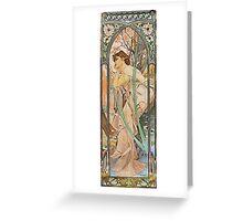 Alphonse Mucha - Reverie Du Soirevening Reverie Greeting Card