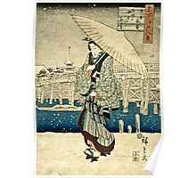 Ando Hiroshige - Eight Views Of Edo, Evening Snow At Asakusa, Date Unknown  Poster
