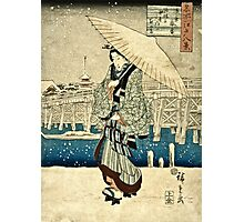 Ando Hiroshige - Eight Views Of Edo, Evening Snow At Asakusa, Date Unknown  Photographic Print