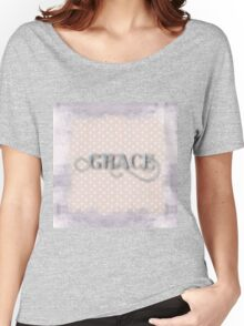 Grace,shabby chic,country chic,silver paint,polka dots,white,peach,rustic,cute,beautiful,collage Women's Relaxed Fit T-Shirt