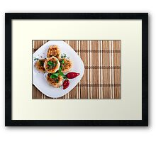 Fried meatballs of minced chicken with red pepper Framed Print