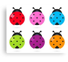 Stylized lady-bugs collection. Vector arts. Canvas Print