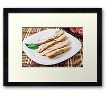 Fillets cut into pieces of baked chicken Framed Print