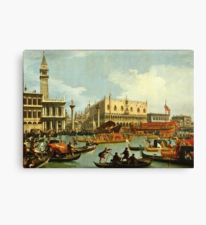 Canaletto Bernardo Bellotto - Bucentaurs return to the pier by the Palazzo Ducale 1728 - 1729  Canvas Print