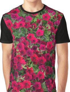 Red Wild Flower Pattern Graphic T-Shirt