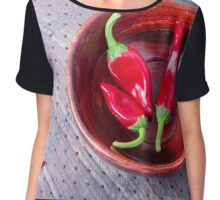Chilli hot red pepper in a brown wooden bowl Chiffon Top