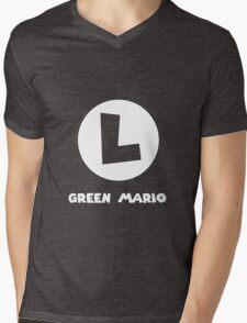 Green Mario (Luigi). Mens V-Neck T-Shirt