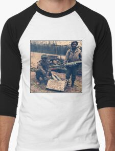 Happy Easter Hitler. Soldiers Vintage photo Men's Baseball ¾ T-Shirt