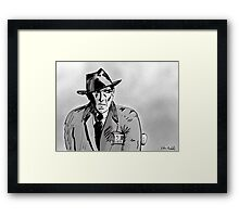Film Noir Character with Hat, Coat and Paper on a Grey Day Framed Print