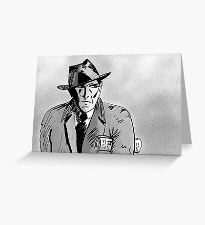 Film Noir Character with Hat, Coat and Paper on a Grey Day Greeting Card