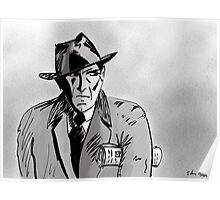 Film Noir Character with Hat, Coat and Paper on a Grey Day Poster