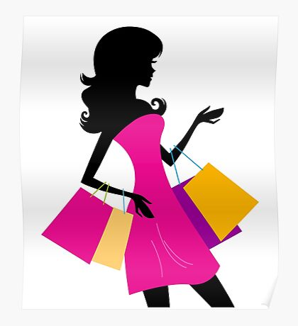 Shopping girl with pink bags silhouette Poster