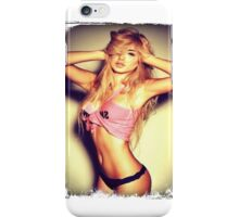 Blonde girl sexy t-shirt iPhone Case/Skin