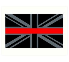Firefighters Red Line Union Jack Art Print