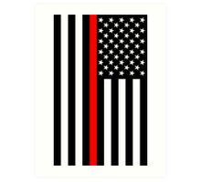 Firefighters Red Line US Flag Art Print