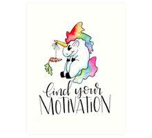 Tubby Unicorn finds motivation Art Print