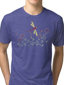 DRAGONFLY RED GOLD GARDEN PARTY Tri-blend T-Shirt