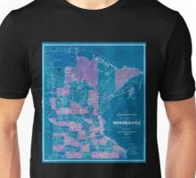 0134 Railroad Maps Township and railroad map of Minnesota published for the Legislative Manual Inverted Unisex T-Shirt
