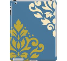 Scroll Damask Art I Gold & Cream on Blue iPad Case/Skin