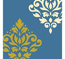 Scroll Damask Art I Gold & Cream on Blue Photographic Print