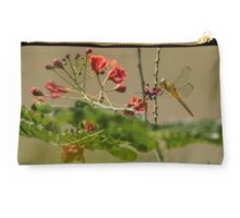 Dragonfly & Red Flower Studio Pouch