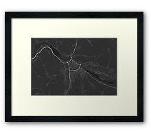 Zilina, Slovakia Map. (White on black) Framed Print
