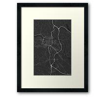 Maribor, Slovenia Map. (White on black) Framed Print