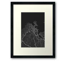 A Coruna, Spain Map. (White on black) Framed Print
