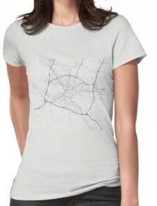 Ljubljana, Slovenia Map. (Black on white) Womens Fitted T-Shirt