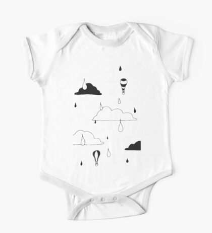 Cloudy Days Ink Print One Piece - Short Sleeve