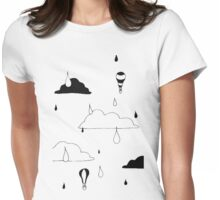 Cloudy Days Ink Print Womens Fitted T-Shirt
