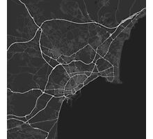 Alicante, Spain Map. (White on black) Photographic Print