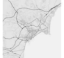 Alicante, Spain Map. (Black on white) Photographic Print
