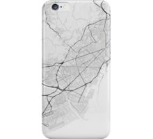 Barcelona, Spain Map. (Black on white) iPhone Case/Skin