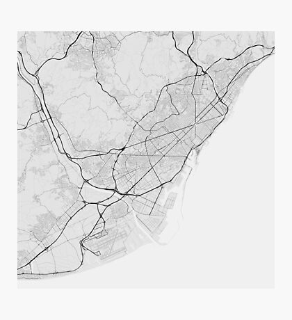 Barcelona, Spain Map. (Black on white) Photographic Print