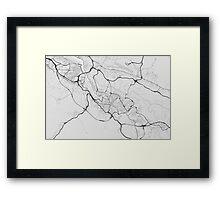 Bilbao, Spain Map. (Black on white) Framed Print