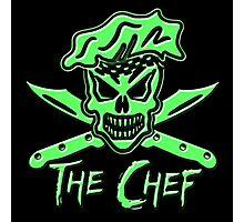 Chef Skull: Neon Green Photographic Print