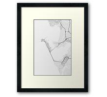 Cadiz, Spain Map. (Black on white) Framed Print