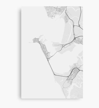 Cadiz, Spain Map. (Black on white) Canvas Print