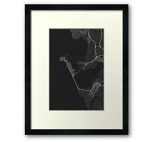 Cadiz, Spain Map. (White on black) Framed Print