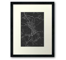 Granada, Spain Map. (White on black) Framed Print