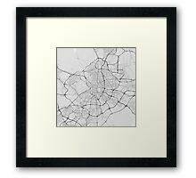 Madrid, Spain Map. (Black on white) Framed Print