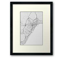 Malaga, Spain Map. (Black on white) Framed Print
