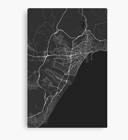 Malaga, Spain Map. (White on black) Canvas Print